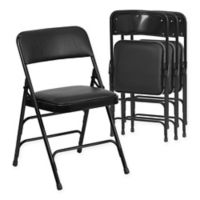 Belnick Hercules Vinyl 4-Pack Folding Chair Collection in Black