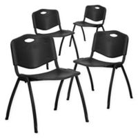 Flash Furniture Hercules Stack Chairs in Black (Set of 4)