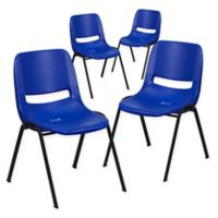 Flash Furniture Plastic Stack Chairs in Blue (Set of 4)