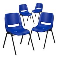 Flash Furniture Plastic Ergonomic Stack Chair in Navy Blue (Set of 4)