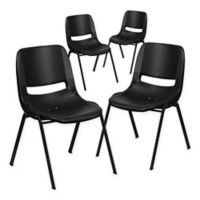 Flash Furniture Plastic Ergonomic Stack Chair in Black (Set of 4)