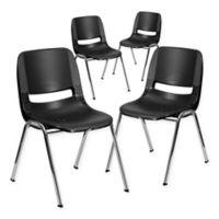 Flash Furniture Plastic Ergonomic Stack Chairs in Black/Chrome (Set of 4)