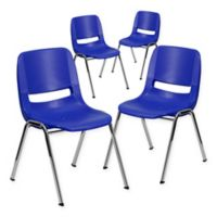 Flash Furniture Plastic Ergonomic Stack Chairs in Blue/Chrome (Set of 4)