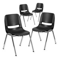 Flash Furniture 16-Inch Plastic Stack Chairs in Black Chrome (Set of 4)