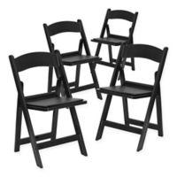Flash Furniture Hercules Resin Folding Chairs in Black (Set of 4)