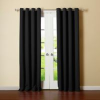 Decorinnovation Basic Solid 63-Inch Room-Darkening Grommet Window Curtain Panel Pair in Black