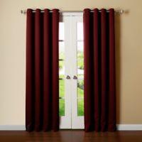Decorinnovation Basic Solid 84-Inch Room-Darkening Grommet Window Curtain Panel Pair in Burgundy