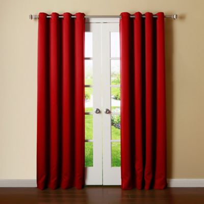 Decorinnovation Basic Solid 63 Inch Room Darkening Grommet Window Curtain Panel Pair In Red