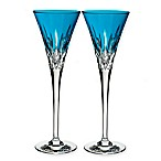 Waterford® Lismore Pops Toasting Flutes in Aqua (Set of 2)
