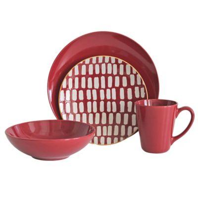 Baum Dashed Lines 16-Piece Dinnerware Set in Red  sc 1 st  Bed Bath \u0026 Beyond & Buy Solid Color Dinnerware from Bed Bath \u0026 Beyond