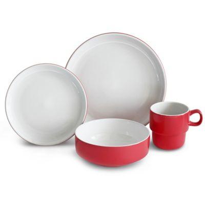 Baum Stacked 16-Piece Dinnerware Set in Red  sc 1 st  Bed Bath \u0026 Beyond & Buy Dinnerware Storage from Bed Bath \u0026 Beyond