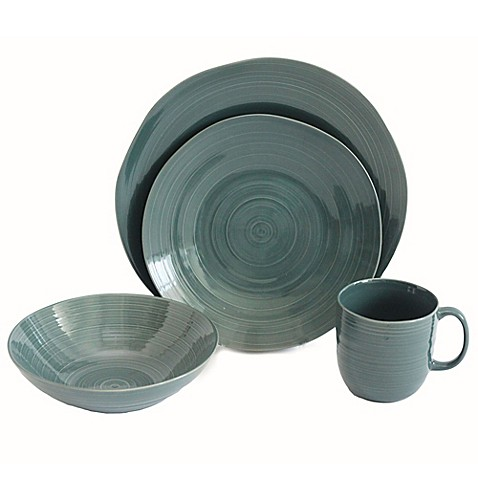 Baum Flow 16-Piece Dinnerware Set in Teal - Bed Bath & Beyond