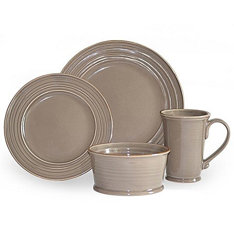 Baum Tuscany 16-Piece Dinnerware Set in Stone - Bed Bath & Beyond