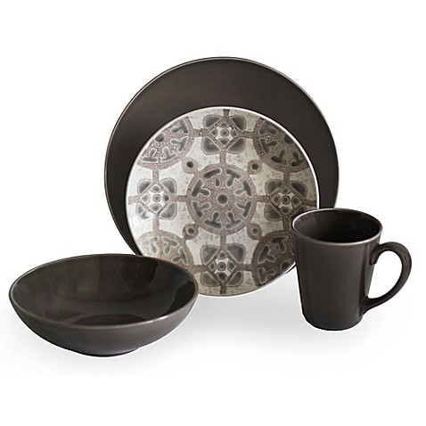 Baum Medallion 16-Piece Dinnerware Set in Taupe - Bed Bath & Beyond