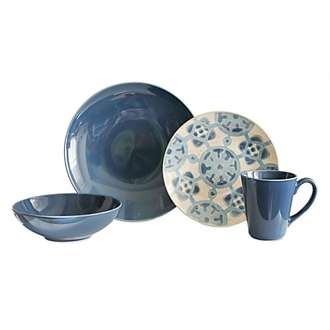 Baum Medallion 16-Piece Dinnerware Set in Cornflower - Bed Bath & Beyond