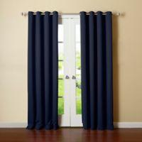 Decorinnovation Basic Solid 84-Inch Room-Darkening Grommet Window Curtain Panel Pair in Navy
