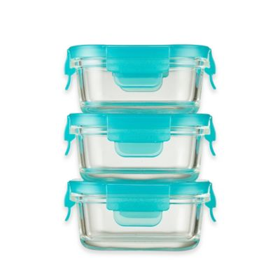 Innobaby Preppin' SMART 5 oz. 2-Pack Locking Glass Container in Aqua