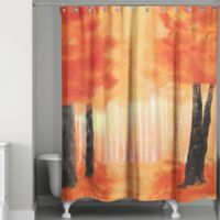 Watercolor Autumn Path Shower Curtain