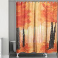 Watercolor Autumn Path Shower Curtain
