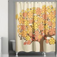 Autumn Flower Tree Shower Curtain in Orange/Yellow