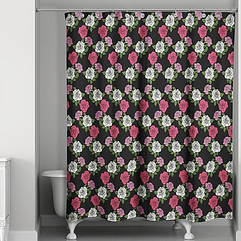 blush rose shower curtain in black pink bed bath beyond