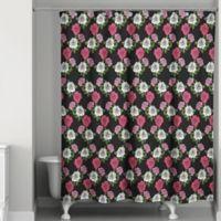 Blush Rose Shower Curtain In Black Pink