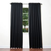 Decorinnovation Basic Solid 84-Inch Room-Darkening Back Tab Window Curtain Panel Pair in Black