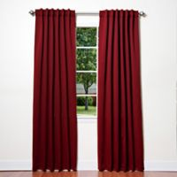 Decorinnovation Basic Solid 63-Inch Room-Darkening Back Tab Window Curtain Panel Pair in Burgundy