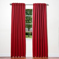 Decorinnovation Basic Solid 63-Inch Room-Darkening Back Tab Window Curtain Panel Pair in Red