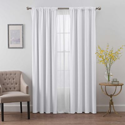 Buy Kendall Sheer 63 Inch Rod Pocket Window Curtain Panel In White From Bed Bath Beyond