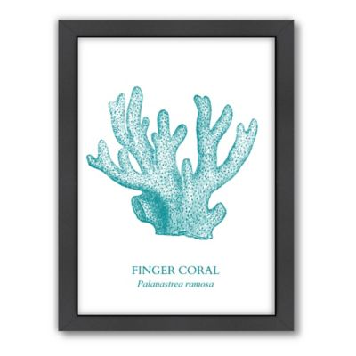 Americanflat Coral Wood Framed Wall Art
