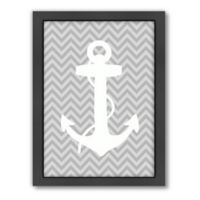 Americanflat Sea Chevron 4 Wood-Framed Wall Art