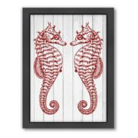 Americanflat Samantha Ranlet Double Seahorse Wood Wall Art in Crimson
