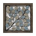 Leaves Metal Wall Art in Blue & Cream