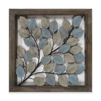 Leaves Metal Wall Art in Blue & Cream