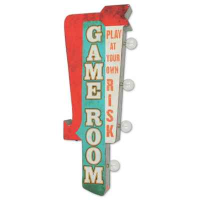 Retro Game Room LED Metal Wall Art