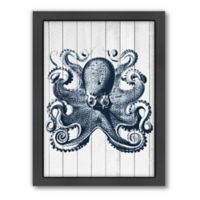 American Flat Samantha Ranlet Wood Vintage Octopus Framed Wall Art