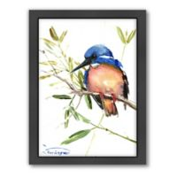 Americanflat Azure Kingfisher Wood-Framed Wall Art