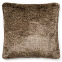 Loloi Solid Faux Fur 22-Inch Square Throw Pillow Light Brown