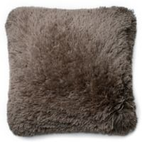 Loloi Long Hair Shag 22-Inch Square Throw Pillow in Taupe