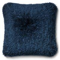 Loloi Long Hair Shag 22-Inch Square Throw Pillow in Navy