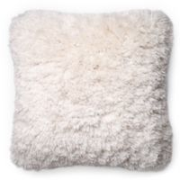 Loloi Long Hair Shag 22-Inch Square Throw Pillow in Ivory