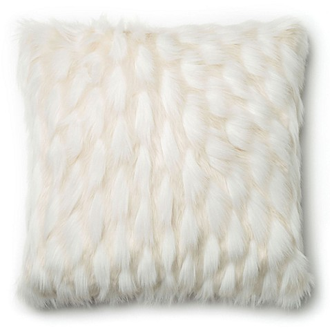 Loloi Acrylic Faux Fur Throw Pillow in White - Bed Bath & Beyond