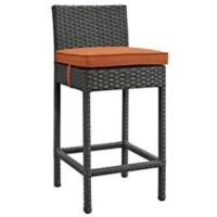Modway Sojourn Outdoor Patio Wicker Bar Stool in Sunbrella® Canvas Tuscan