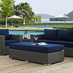 Modway Sojourn Outdoor Rectangle Ottoman in Navy Sunbrella® Canvas