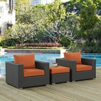 Modway Soujourn 3-Piece Outdoor Conversation Set with Sunbrella® Fabric in Tuscan