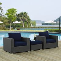 Modway Soujourn 3-Piece Outdoor Conversation Set with Sunbrella® Fabric in Navy