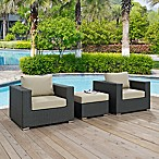 Modway Sojourn 3-Piece Outdoor Conversation Set in Antique Beige Sunbrella® Canvas