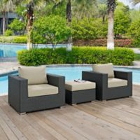 Modway Soujourn 3-Piece Outdoor Conversation Set with Sunbrella® Fabric in Beige