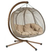 Loveseat Hanging Chair with Stand in Brown